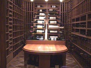 attractive custom cellar with wood racking