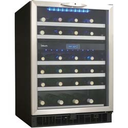 Danby DWC518 BLS 51 bottle wine refrigerator with two zones