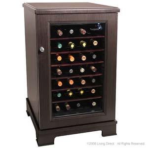 28-bottle wood-paneled wine cooler