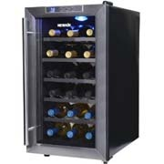 slightly angled front view of an 18 bottle New Air model. All black cabinet with glass door.