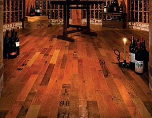 wine cellar flooring from reclaimed wine barrel