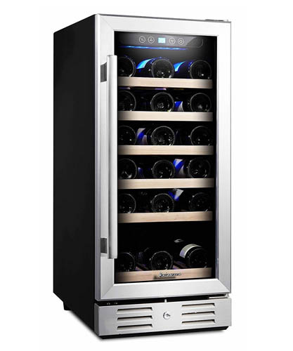 front view of the 30 bottle model, fully loaded with wine bottles.