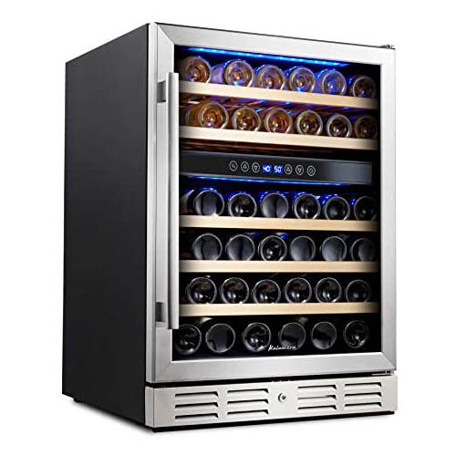 front view of Kalamera 46DZB Wine fridge, with closed see-through door