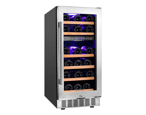 front view of a dual zone thermoelectric wine fridge. Has stainless steel framed glass door with metal bar handle and front grille.