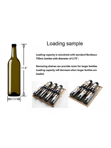 Infograph showing configuration of 5 bottles on a wooden shelf