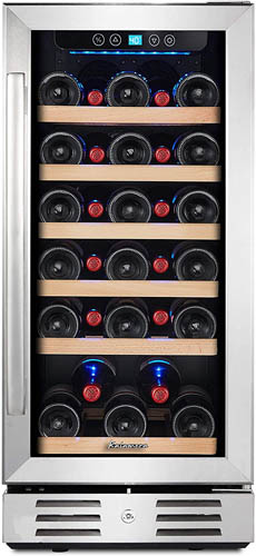 front view of the 30 bottle Kalamera wine fridge, with the door closed