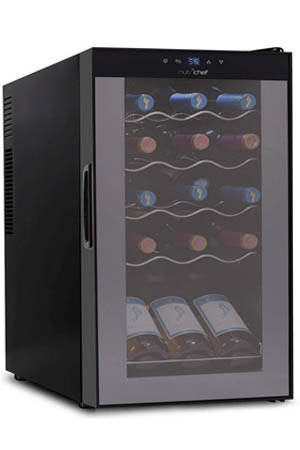 front view of the Nutrichef 15-bottle wine cooler, slightly angled to the right. The fridge is packed full with wines, that can be seen through the tinted glass door.