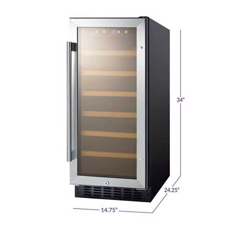 slightly angled front view of the Summit 33 bottle fridge, 6 wooden shleves can be seen through the closed stainless steel framed glass door, the dimensions of the cabinet are displayed