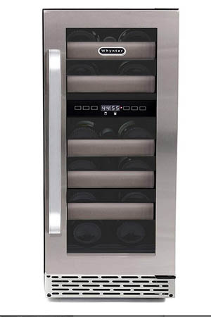 front view of the Whynter 17 bottle wine fridge. The closed glass door features a thick SS frame and a long metal handle. Has a ventilation grille at the front bottom.