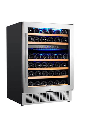 front view of the wine cooler full stocked with wine bottles