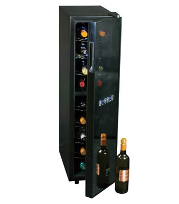 front view of the narrow black fridge with the door slightly open, fully stocked with wine bottle, placed with the cap facing outwards. There's a bottle of wine placed to the right of the appliance.