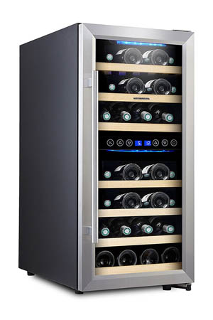 slightly angled front view of the Phiestina 33 bottle wine cooler, with the glass door closed