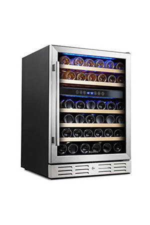 view of the wine fridge from the front: black cabinet with metal-framed glass door, and flat wood shleves that hold wine bottles.