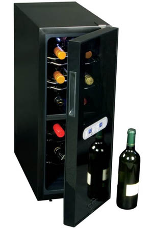 front view of the wine chiller with the door partially open, bottles are placed on metal wires inside the black cabinet