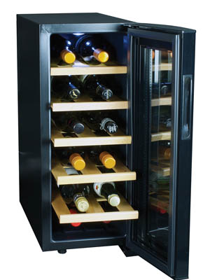 Front view of the Koolatron WC12-35D wine cooler with the glass door fully open. 2 bottles lay on each of the 5 wood shelves with the neck facing forward.
