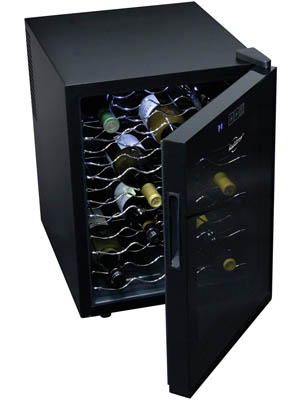 Showing the balck Koolatron 20 bottle model with the glass door partially open. Wavy wire racks hold various wine bottles.