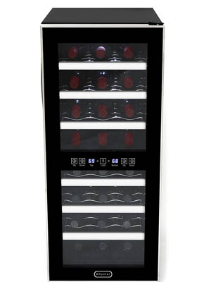 front shot of the Whynter 241DS thermoelectric wine cooler. The seethrough glass door is closed. It is fully stocked with wine bottles lying on scalloped wire racks. Bottle necks are facing outwards.