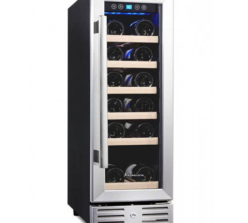 Kalamera KRC-18SZB 18-bottle wine cooler photographed from the front with the glass door closed.