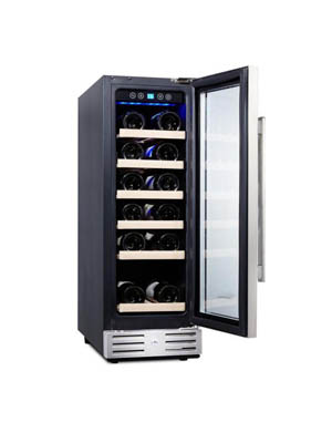 "front shot of the Kalamera 12"" wine fridge with the glass door fully open. The wood shelves are fully stocked with bottles."