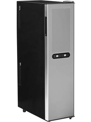 front view of the 18-Bottle slim wine fridge by Wine Enthusiast. The silver colored door is closed.