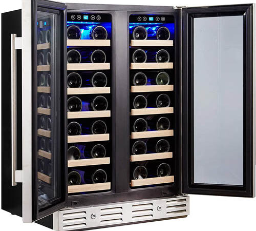 front photo of the Kalamera KRC-40DZB French-door wine cooler with both doors open. The fridge is fully stocked with wines.