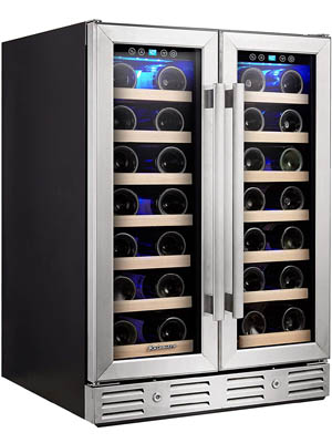 slightly angled photo of the Kalamera KRC-40DZB double door wine cooler. The doors are closed, the bottom of wine bottles can be seen lying on the wood racks.