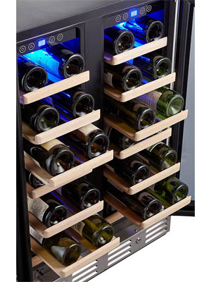 photo showing the wooden shelves slightly pulled out on both sides of the Kalamera-KRC40DZB wine cooler