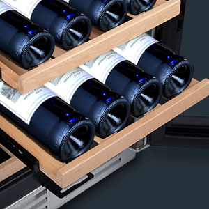 photo showing two of the wood shleves partially pulled out. Both shelves hold 4 bottles with white labels on them.