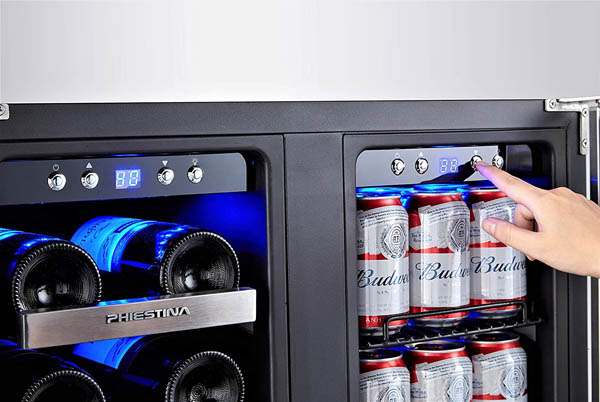 photo of the Phiestina 20-bottle French door beverage cooler's control panel - on the right side an index finger is pressing the Down button