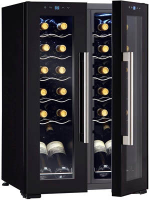 photo of the black Wine Enthusiast 24-bottle French door wine cooler with the glass door slightly open on the right side.