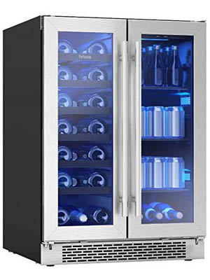 slightly angled photo of the Zephyr brisas 21-bottle wine & beverage cooler, with the 2 doors closed. The left side of the cooler is fully stocked with wines, the right side shows canned drinks stored standing up.