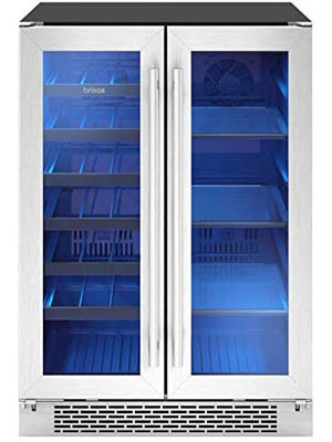 front view of the Zephyr Brisas dual zone double door wine cooler. The empty cabinet interior is illuminated by blue lighing.