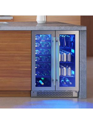 A photo showing the double door wine cooler built-in under a grey marble kitchen counter. The blue light casts the cabinet interior in a blueish glow.