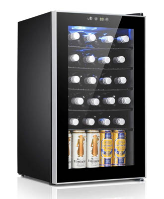 photo showing an Antarctic Star wine fridge with the top shleves full with wine bottles , necks facing outwards. On the bottom there are beer bottles in upright position.