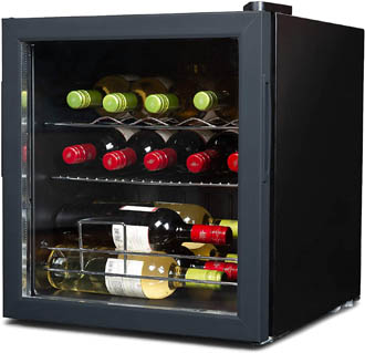 Slightly angled photo of a countertop size, cheap wine cooler stocked full with wine. Bottles are lying on wire racks, that can be seen through the door glass.