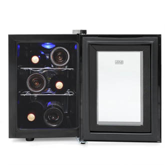 Photo of the Black & Decker wine cooler's interior with the glass door fulyl open. The blue light is on and the 2 wire racks each holds 2 bottles.