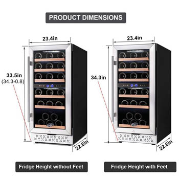 a photo showing 2 of the TYLZA 30-bottle wine fridge side by side with the external and internal measurements marked