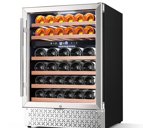 photo of the TYLZA 46-bottle wine cooler, showing the unit from the front with the glass door closed. The fridge is fully stocked with wines.