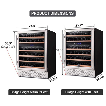 a photo showing 2 of the TYLZA 46-bottle wine cellar side by side with the external and internal measurements marked