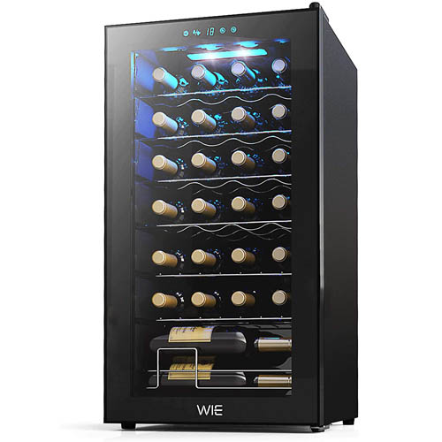 front shot of the WIE 28 bottle wine cooler with the glass door closed. The blue LED light illuminates the bottles stored inside. The fridge is fully stocked with bottles facing with the neck outward.