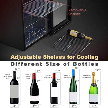 A photo montage presenting the versatility of shelving: we can see the lower part of the open, empty fridge. One of the wire racks is on the floor holding a bottle of wine.