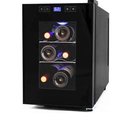 front view of the Black & Decker 6-bottle wine cooler. The black-framed glass dooor is closed.