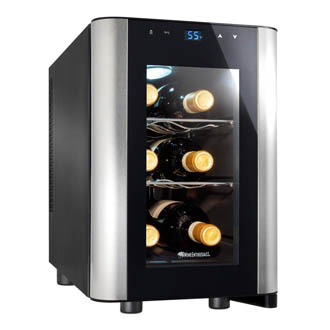 front photo of the Wine Enthusiast 6 bottle wine cooler. The transparent glass door has a silver side trim. The door is closed.