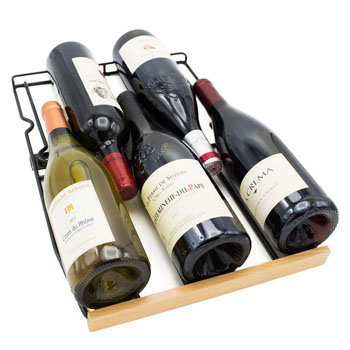 a photo showing a wood-fronted wire shelf of the Hank & Smith 32-Bottle Wine Cooler with 5 bottles of wine lying on it. 3 with the bottoms facing outwards, 2 with their necks in between them.