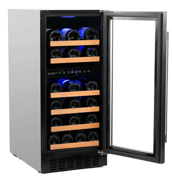 photo showing the Smith & Hanks 32-bottle wine fridge from the front, with the glass door open to 90 degrees. The fridge is fulyl loaded with wines. The blue interior light is on.