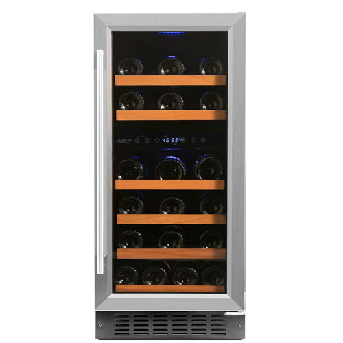 front view of the Smith & Hanks 32-Bottle wine cooler with the glass door closed.