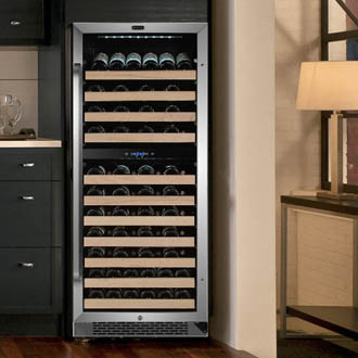 Photo showing the Whynter 92-bottle wine fridge placed as freestamding in an apartment.
