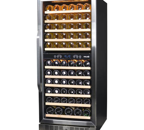 front view of the NewAir 116 bottle wine refrigerator with the glass door shut. The fridge is fully stocked with bottles.