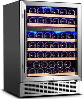front view photo of the Aaobosi 51 bottle wine cellar with the glass door closed.