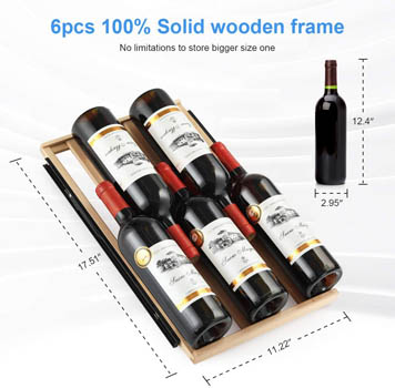Photo showing the arrangement of wine bottles on the Colezer wine fridge's wood shelf. The dimensions of the shelf are also indicated